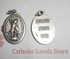 St Michael the Archangel with Pray for Us - Italian Silver-tone OX Medal