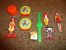 9-Vintage McDonalds Happy Meal Toy Lot 1980's Wistle Cup Clock Hamburglar Barbie
