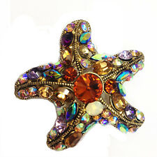 Vintage Colourful Starfish Luxury Crystal Diamante Big Corsage Brooch Pin BR195