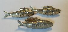 Mid-Century Gold Tone Articulated Fish Cufflinks and Tie Bar *LUCKY FISH*