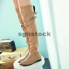 New Ladies Fashion Faux Leather Low Heels Belt Buckle Over The Knee Boots Shoes