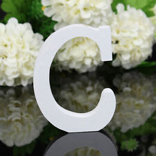 C Wood Wooden Letter White Alphabet Freestanding Art Home Wedding Party Decor 03
