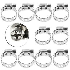 """10Pcs Adjustable Stainless Steel Drive Hose Clamp 3/8""""-1/2"""" Fuel Line Worm Clip"""
