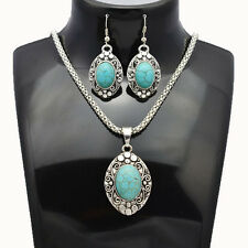 Classic Tibetan Silver BLUE TURQUOISE Oval Drop Earrings Necklace Jewelry Set