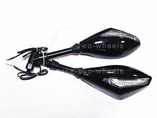 Mirrors 10mm Rear Side Motorcycle Street Bike Integrated Turn Signals LED Black