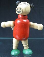Vintage 1930's Wood Flexible Red & Green Pig Toy Made in USA
