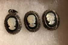 Vintage 925 Sterling Silver Cameo Earrings & Charm Onyx Carved Mother of Pearl