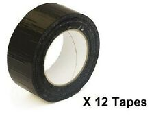 BRAND NEW   12 extra strong black cloth gaffa duct tape 50mm X 50M