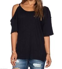 FREE PEOPLE WE THE FREE AFTER PARTY BLACK SHORT SLEEVE COLD SHOULDER TOP Sz L