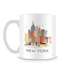 Cool New York ilustración con Taxi Amarillo Y Rascacielos Taza