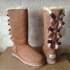 UGG Tall Triple Triplet Bailey Bow Chestnut Suede Sheepskin Boots US 9 Womens