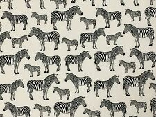 Zebra Black Fabric Remnant 100% Cotton 50cm x 40cm