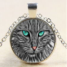Photo Cabochon Glass Silver Chain charms Pendant Necklace(Gray Cat green eyes
