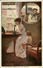 AT&T Telephone Mother/Wife on Phone Child Watches c1910 Postcard