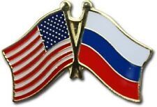 USA - RUSSIA  FRIENDSHIP CROSSED FLAGS LAPEL PIN - NEW - COUNTRY PIN