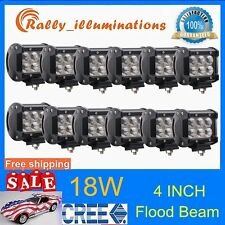 12PCS 18W CREE 4INCH LIGHT FLOOD BEAM WORK BAR OFFROAD SAVE ON 126W 1500LM US