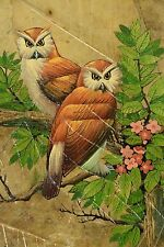 Vintage original Owl painting on leaves leaf art two Owls perched in tree signed