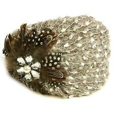 Fuzzy Feathers Rhinestone Hat Cap Fascinator Headband HeadPiece Cocktail Gray