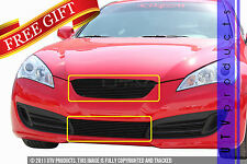GTG Gloss Black 2PC Billet Grille Kit fits 2010 - 2012 Hyundai Genesis Coupe 2DR