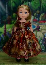 100% Silk Dress Outfit for American Girl Wellie Wishers, Hearts For Hearts