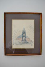 VINTAGE 1976's PENCIL DRAWING OF THE ALBERT MEMORIAL AND THE ROYAL ALBERT HALL