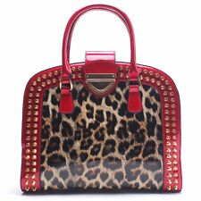 NEW Women Shoulder Bags Ladies Leopard Print Patent PU Leather Tote Handbag RED