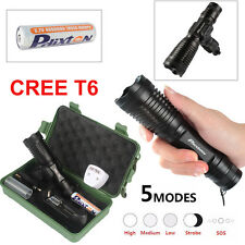 5000lm CREE T6 LED Tactical Police Flashlight 18650 Rechargeable Torch Mount Set