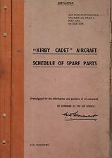Kirby Cadet glider sailplane 1940's parts service manual Slingsby T.7 archive