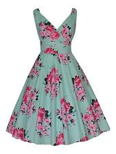40s 50s Vintage Green Pink Floral Bridesmaid Cotton Party Prom Tea Dress BNWT 14