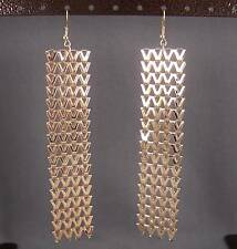 "Gold tone dangle liquid mesh metal 4.75"" long metallic flowy earrings Vpattern"