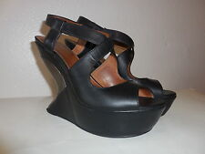 $398 Sz. 6.5 -7  Leifsdottir Cutout Wedge Platform Sandals Black Shoes