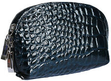 ITALIAN NAVY BLUE REAL GENUINE LEATHER COSMETIC CLUTCH MAKEUP BAG PATENT CROC BN