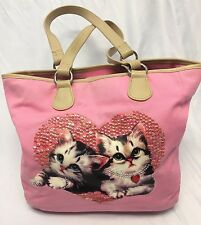 Pink Sequin Canvas Cat Shoulder Bag Purse Kittens Cats STAINING