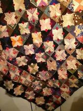 Antique Early Historical American Log Cabin Light & Dark Quilt for Restoration