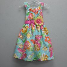 HOLIDAY EDITIONS Girls Sky Blue Shimmer Pink Yellow Butterfly Easter Dress 6/6x