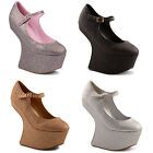 New Ladies Glittery Heel Less Mary Jane Platform Wedge Court Shoes Size 3 - 8