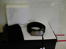 Versace collection belt adjustable size 105/120 genuine leather silver buckle