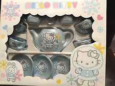 HELLO KITTY BLUE Porcelain Tea Set  SANRIO NIB Teapot Saucers &  Cups 12 pieces