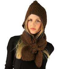 Winter Crochet Floral Hand Knit Hooded Scarf Pullover Headscarf Hoodie Hat Brown