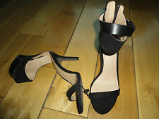 Zara black high heel sandal shoes with ankle cuff buckle detail size 6 39  BNWOB
