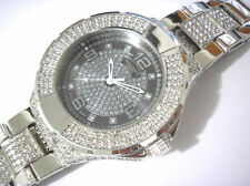 Iced Out Bling Bling Stainless Steel Techno King Men's Watch Silver Item 2186