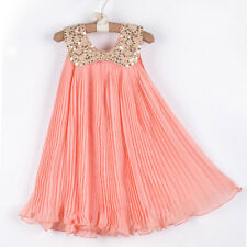 Girl Clothes Kids Baby Chiffon Sequin Tutu Dress Party Dresses Outfit 5-6Y Skirt
