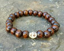MENS BRACELET BROWN WOOD WOODEN SKULL GEMSTONE MALA BEADED JEWELRY HANDMADE GIFT