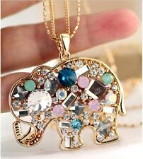New Multicolour Austria Crystal Lucky Elephant Sweater Necklace Pendant NC0007