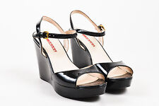 Prada Sport Black Patent Leather Open Toe Ankle Strap Platform Wedges SZ 38