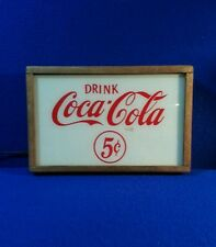 Vintage drink coca cola 5c lighted sign in oak frame
