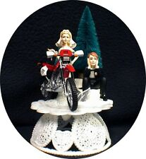 Off Road Dirt Bike Motorcycle wedding Cake topper  Red Honda Racing Track Funny