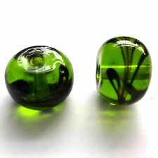 20 Green Lampwork Glass 10x8mm Beads