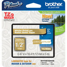 Brother TZMQ835 12mm white on satin gold P-touch PT1005 PT1090 PT7100VP PT9700