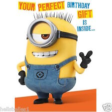 """MINIONS """"PERFECT"""" BIRTHDAY/GREETINGS CARD WITH 3D TEMPLATE**FREE 1ST CLASS P&P**"""